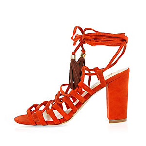Orange lace-up block heel sandals