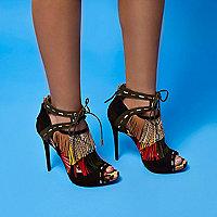 RI Studio black leather fringe heels