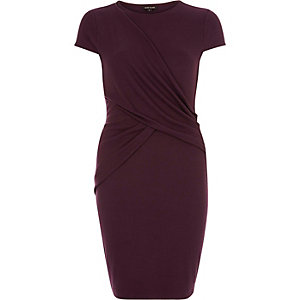 Purple ruched wrap bodycon dress