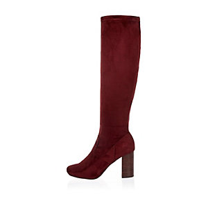 Dark red heeled knee high boots