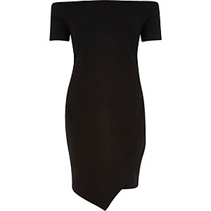 Black bardot wrap bodycon dress