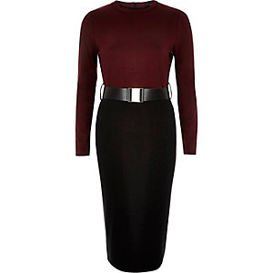 Dark red 2 in 1 belted bodycon dress