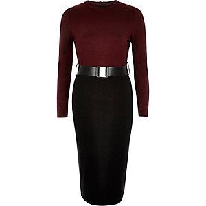 Dark red 2 in 1 belted bodycon dress