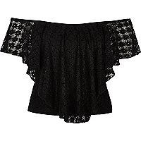 Black daisy lace overlay bardot top