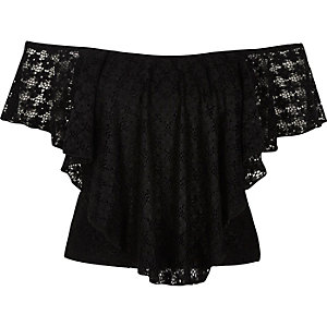 Black daisy lace overlay bardot top
