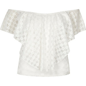 Cream daisy lace overlay bardot top