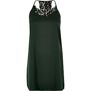 Green satin lace slip dress