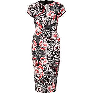 Red floral print bodycon midi dress