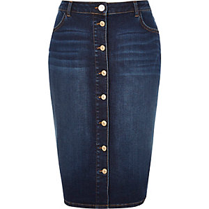 RI Plus blue denim button-up pencil skirt