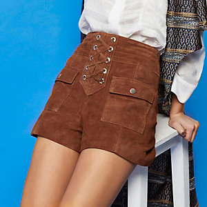 RI Studio rust brown suede shorts