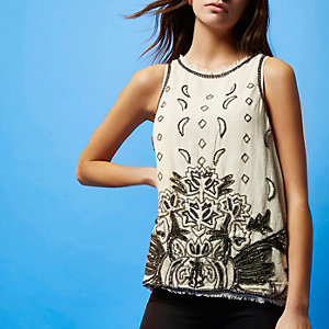 RI Studio cream embellished tank top