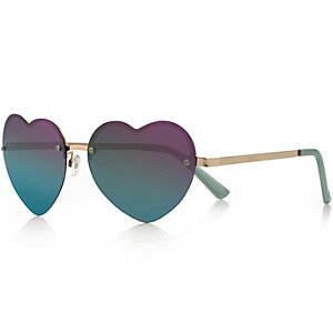 Blue heart-shaped mirrored sunglasses