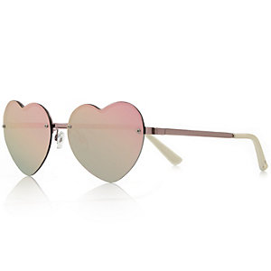 Pink heart-shaped mirrored sunglasses