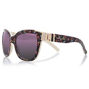Black floral retro sunglasses