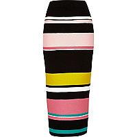 Black stripe knitted tube skirt