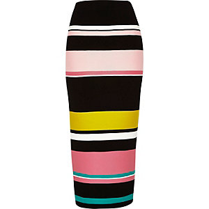 Black stripe knitted tube skirt
