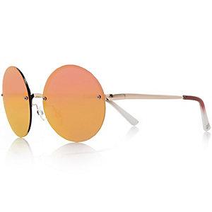 Gold tone mirrored sunglasses