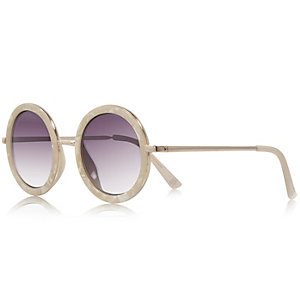 Cream metal round sunglasses