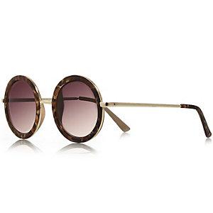 Brown tortoise print round sunglasses