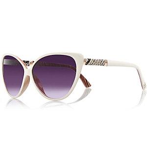 Cremefarbene Katzenaugen-Sonnenbrille