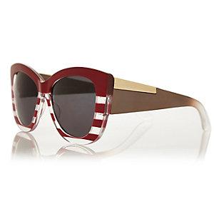 Red chunky stripe cat eye sunglasses