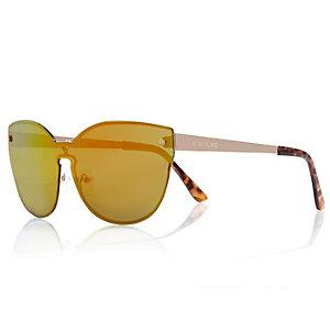 Bright gold tone visor sunglasses