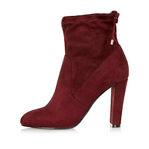 Dark red tie back heeled ankle boots