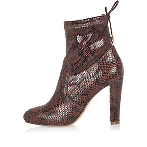 Dark red snake print ankle boots