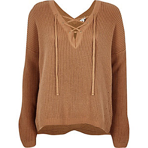 Brown knitted lace-up slouchy sweater