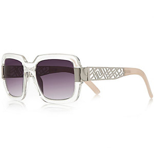 Clear chunky square sunglasses
