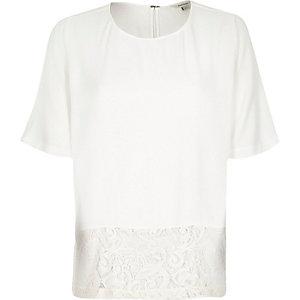 Cream lace hem t-shirt