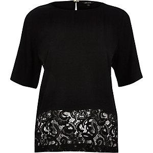 Black lace hem t-shirt