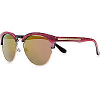 Pink print clubmaster-style sunglasses