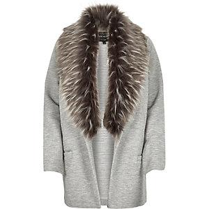 Grey jersey faux fur trim jacket