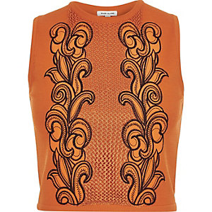 Orange knitted embroidered sleeveless top