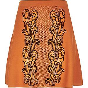 Orange knit embroidered skirt