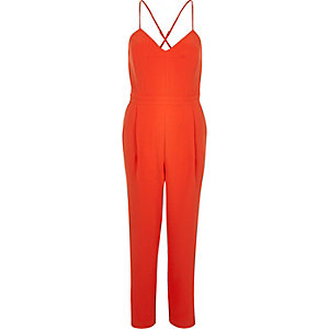 Red smart tapered cami jumpsuit