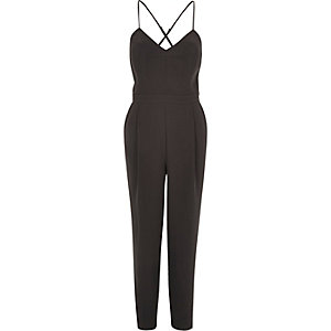 Grey smart tapered cami jumpsuit