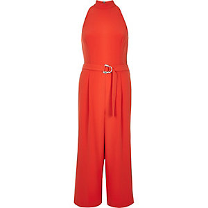 Red smart D-ring culotte jumpsuit