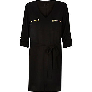 Black zip belted shirt dress