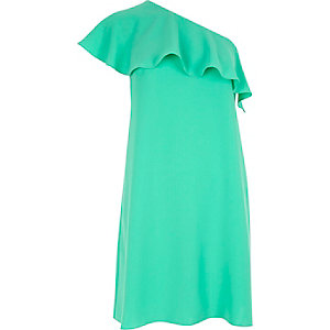 Green one shoulder frilly dress