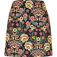 Pink retro floral print mini skirt