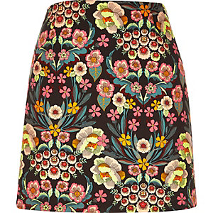 Pink retro floral print mini skirt
