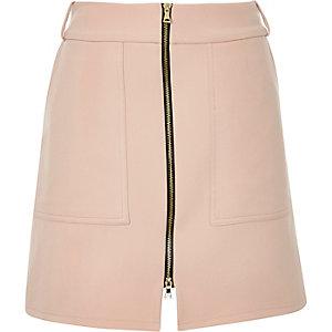 Light pink zip-up A-line skirt