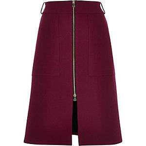 Deep purple zip-up split front midi skirt