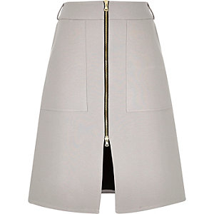 Light grey zip-up A-line midi skirt