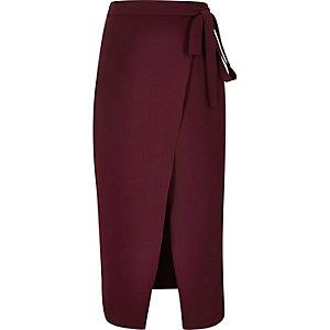 Dark red wrap split front midi skirt