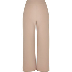 Dark beige wide leg crop pants