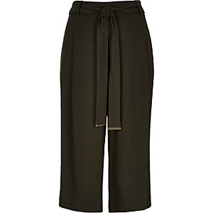 Khaki smart belted culotte pants