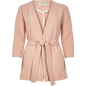 Light pink ribbed belted jacket